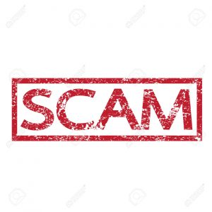 Stamp text SCAM